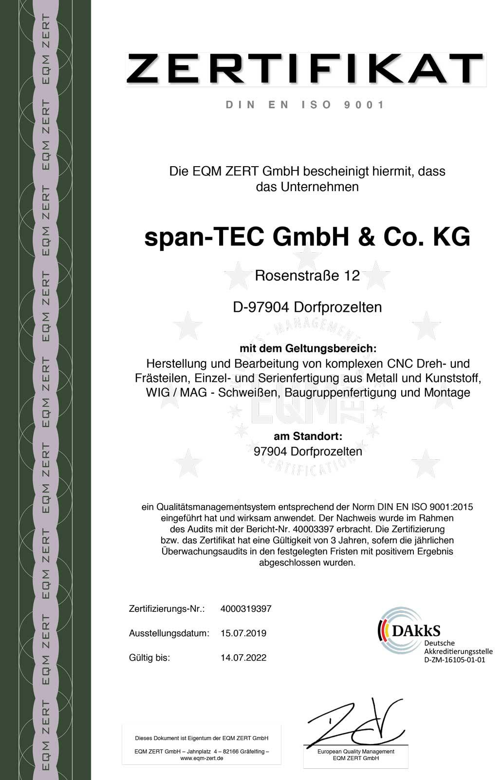 Zertifikat DIN ISO